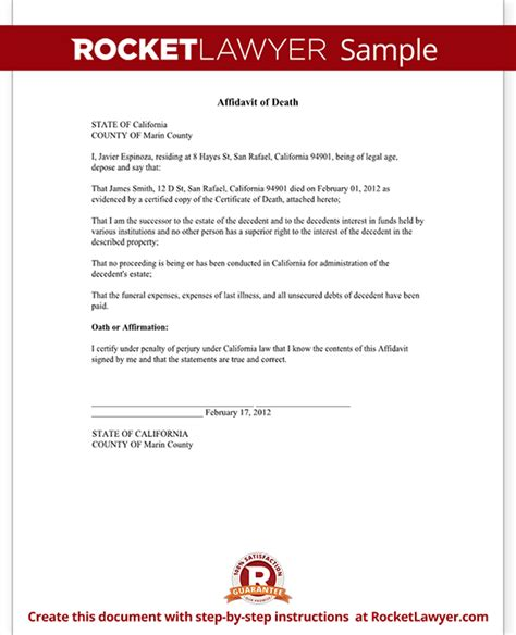 Divorce Offer Letter Affidavit Of Form Affidavit Sle Template