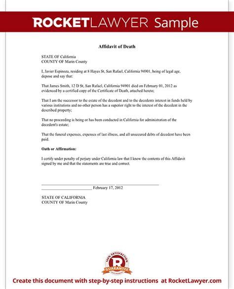 Affidavit of Death Form   Death Affidavit Sample, Template