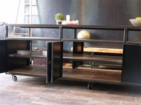 meuble cuisine en metal ilot de cuisine bois m 233 tal sur mesure micheli design
