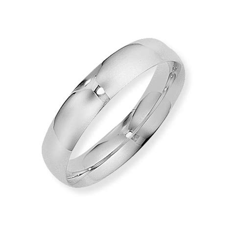 5mm court shape wedding ring in 18 carat white gold