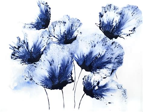 thesis on abstract art quot original art watercolor floral painting blue flower