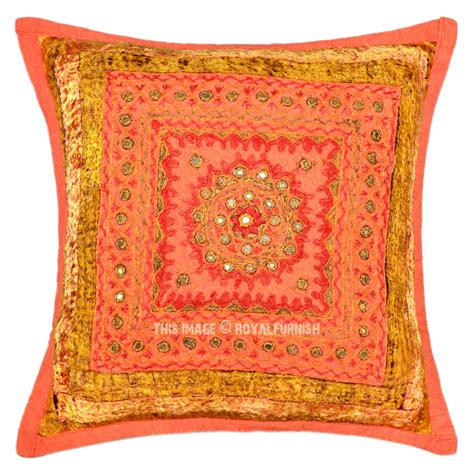 Handmade Decorative Pillows - orange multi unique one of a handmade decorative