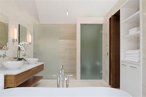 Bathroom Vanity With Glass Door Modern Minimalist Bathroom Design With Frosted Glass Door