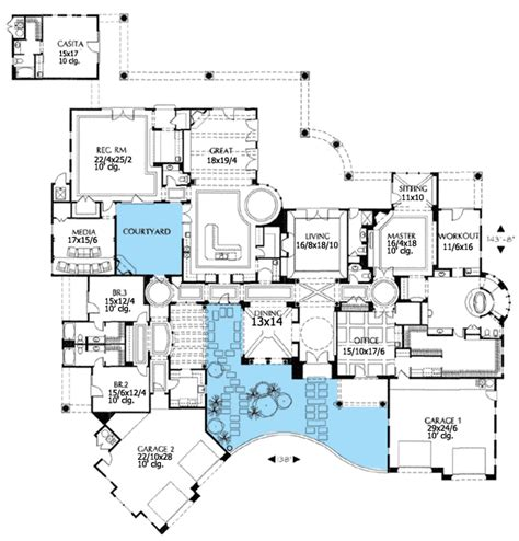 style house plans with interior courtyard
