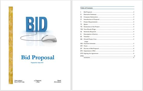 bid business bid template free layout format
