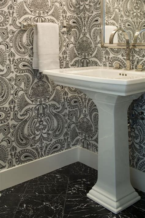 Black And White Damask Bathroom Ideas Powder Rooms Powder And Wallpapers On