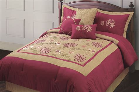 maroon and gold comforter set 7 piece queen adelacia burgundy and gold embroidered