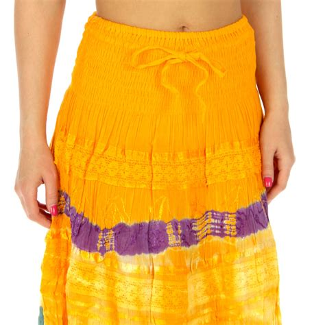 wholesale k61 cotton tie dye maxi skirt crochet yellow