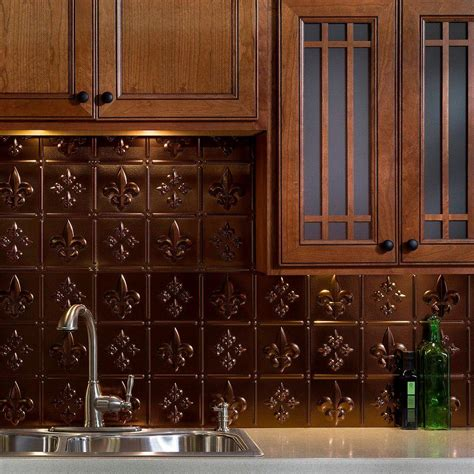 Thermoplastic Panels Kitchen Backsplash Fasade 24 In X 18 In Traditional 10 Pvc Decorative Backsplash Panel In Rubbed Bronze B57