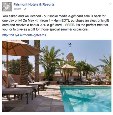 Fairmont Gift Card For Sale - fairmont 20 gift card bonus may 4th points miles martinis