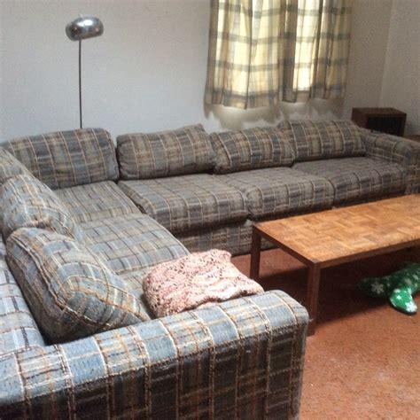 herculon upholstery fabric sectional sleeper sofa in albie s garage sale killington vt
