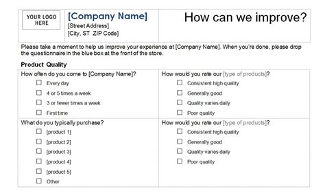 survey card template for excel earn money easy customer survey templates
