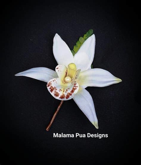 white orchid clip flower hair pin flower hair silk flower hair pin wedding hair flower bridal hair pin silk hair clip white orchid