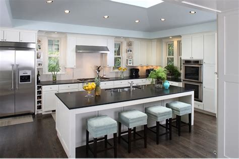 amazing contemporary island in sweet kitchen with low chairs kitchen design