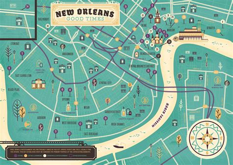 map of new orleans projects herb lester new orleans map on behance