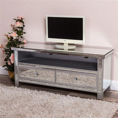 mirrored tv stand silver mirrored tv stand television cabinet unit glass