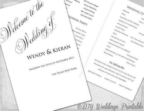 wedding booklet template free wedding program template diy ceremony program printable