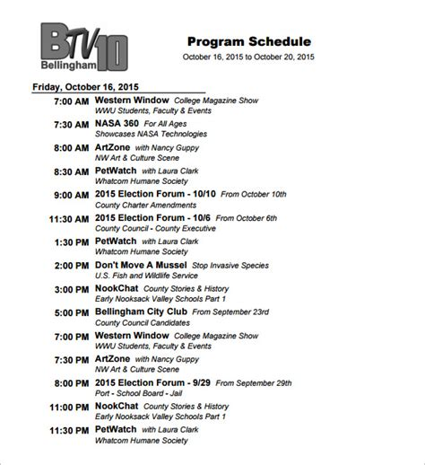 program schedule template excel program schedule templates 12 free word excel pdf