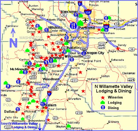 map 99w oregon maps page n willamette valley wine country lodging and