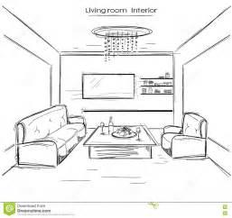 living room drawing living room interior vector black drawing