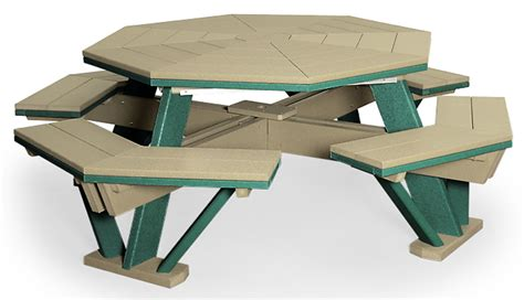 Poly Picnic Tables Octagon Table With Benches Attached 52 Quot Finch Outdoor