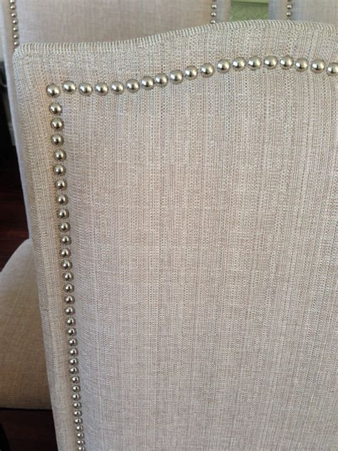 With Nailhead Trim set of 2 upholstered beige fabric dining chairs with