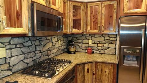 rustic cedar kitchen with cultured backsplash