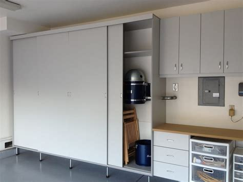 Garage Cabinets Sliding Doors Garage Cabinets Are Made With Sliding Doors Which Saves