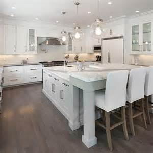 White L Shaped Kitchen With Island Gray Kitchen Island With White Parsons Bar Stools Transitional Kitchen
