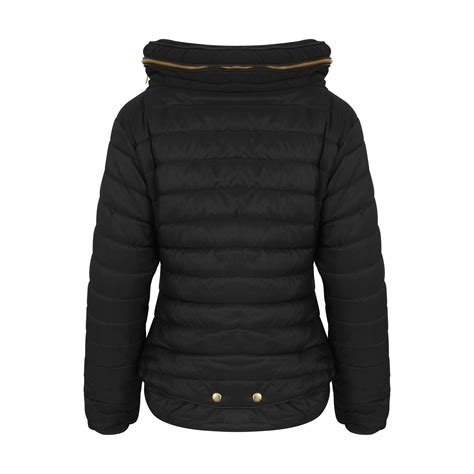 Zip Padded Jacket womens quilted padded hooded gold zip fur collar