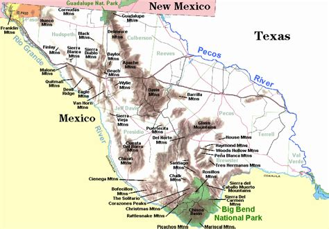 texas mountain ranges map the trans pecos of texas and the hill country