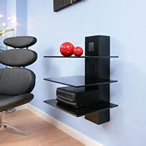 hifi stand shelves black glass cable mgt wall mounted