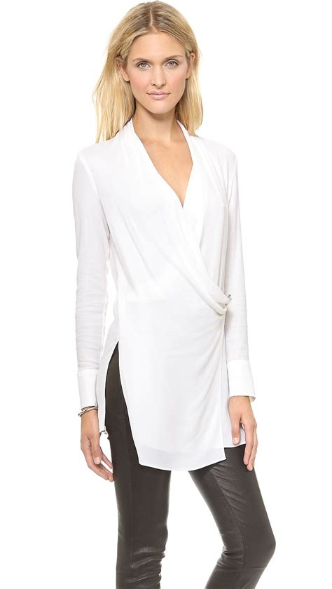 draped over helmut lang fold over draped top optic white in white lyst