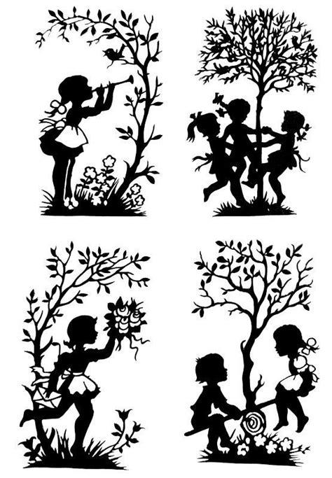 Handmade Paper Cut Silhouettes Paper Cutting 4pcs Childhood Template Pinterest Enfants Qui Silhouette Templates For Paper Cutting
