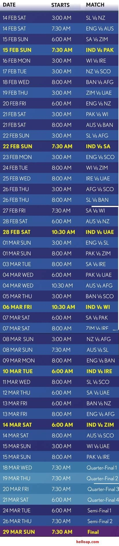 2015 cricket world cup match schedule icc world cup cricket schedule 2015 and india matches