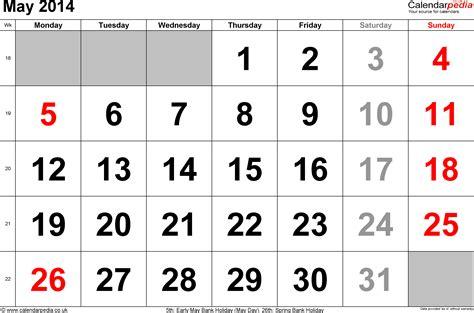 calendar may 2014 uk bank holidays excel pdf word templates