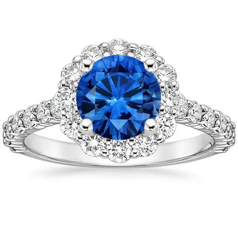 Benih Bunga Lotus 7 Sapphire Sapphire Lotus Flower Ring With Side Stones In
