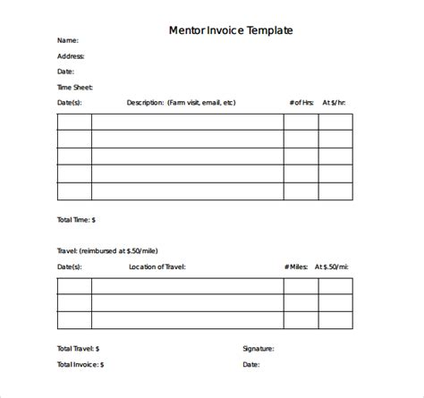 sle simple invoice template 9 download free