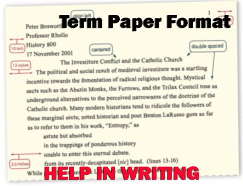 term paper writing format term paper format