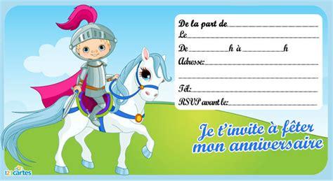 Invitation Anniversaire Le Chevalier 123 Cartes