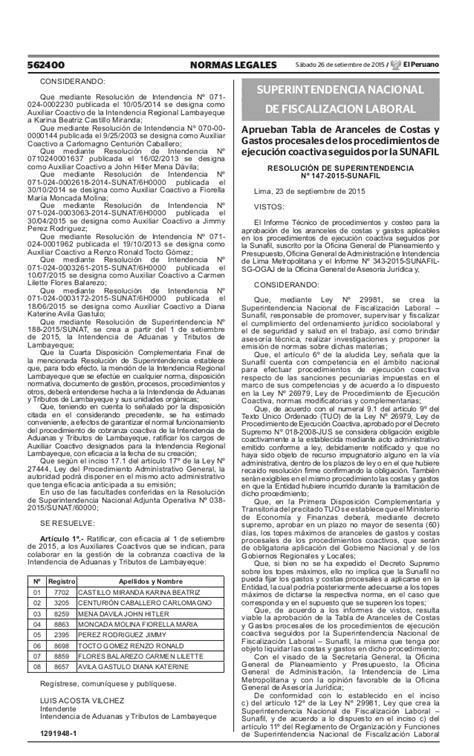 tabla de aranceles de autoavaluo 2015 sunafil rs n 176 147 2015 aprueban la tabla de aranceles