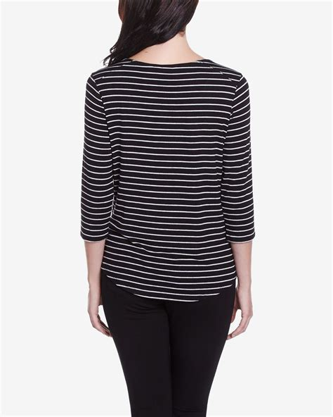 Striped 3 4 Sleeve T Shirt 3 4 sleeve striped t shirt petites reitmans