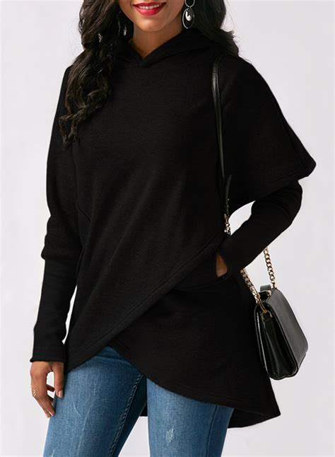Design Hoodie Sleeves | fashion long sleeve solid color asymmetric design hoodie