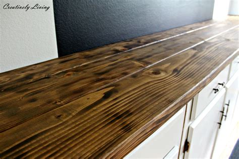 How To Build A Wood Bar Top Counter Torched Diy Rustic Wood Counter Top For 50 By