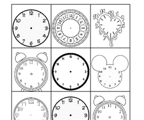 printable clock bingo time worksheets 187 time worksheets blank clocks free