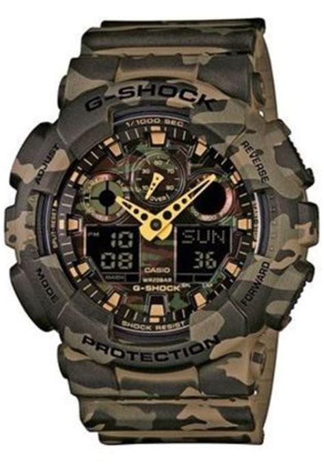 Casio G Shock Ga 100cm 4aer Army Merah montre g shock g shock camouflage ga 100cm 5aer kaki montres and co