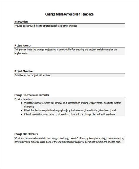 project change management plan template change management plan template communication and change
