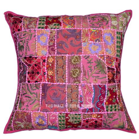 Pink Patchwork Throw - pink large multicolor vintage bohemian indian patchwork