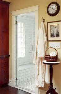 trim work around shower door farmhouse bathrooms