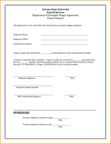 employee loan agreement template employee loan repayment agreement template loan agreement
